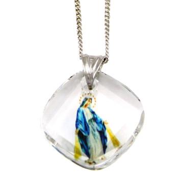 Lady of Grace Swarovski Crystal Catholic Pendant