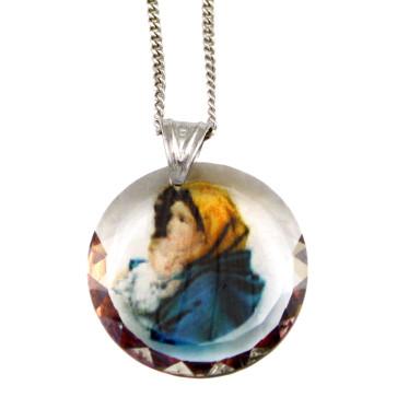 Madonna of the Streets Swarovski Medallion Catholic Pendant
