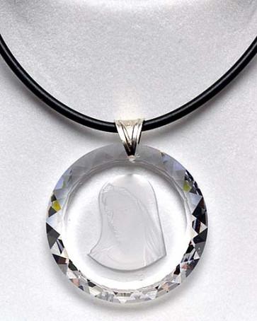 Madonna Medallion Swarovski Crystal Catholic Pendant