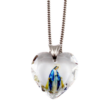 Swarovski Lady of Grace Heart Catholic Pendant