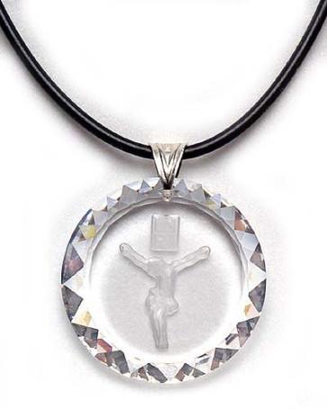 Crucifix Medallion Swarovski Crystal Catholic Pendant