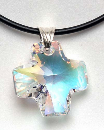 Aurora Borealis Swarovski Cross Pendant