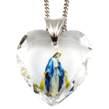 Lady of Grace Swarovski Crystal Heart Catholic Pendant