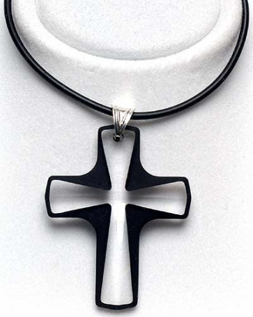 Swarovski Cross with Black Outline Catholic Pendant