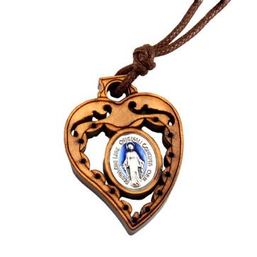 Olive Wood Heart Miraculous Catholic Pendant
