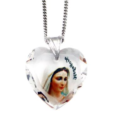 Swarovski Medjugorje Heart Catholic Pendant