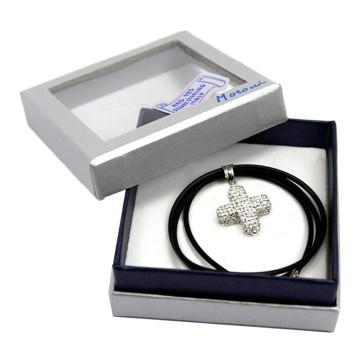 Crystal Encrusted Cross Caucho Necklace