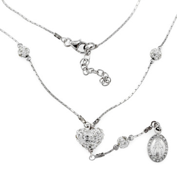 Crystal Encrusted Heart Pendant Necklace