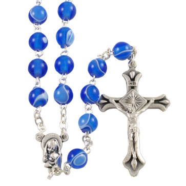 Madonna and Child Silk Beads Catholic Rosary