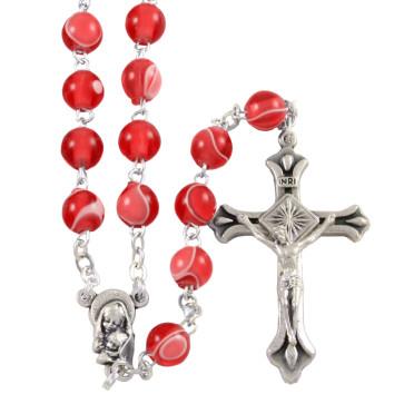 Madonna and Child Silk Beads Catholic Rosary
