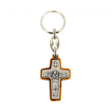 Pope Francis Olive Wood Key Chain