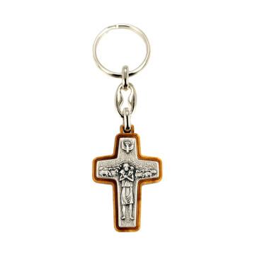 Pope Francis Olive Wood Key Chain