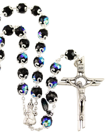 Lady of Fatima Black Capped Beads Rosary