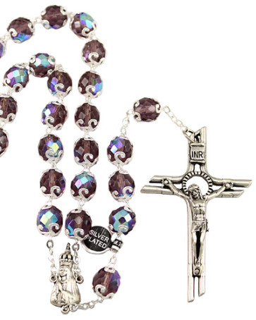 Lady of Fatima Purple Capped Beads Rosary