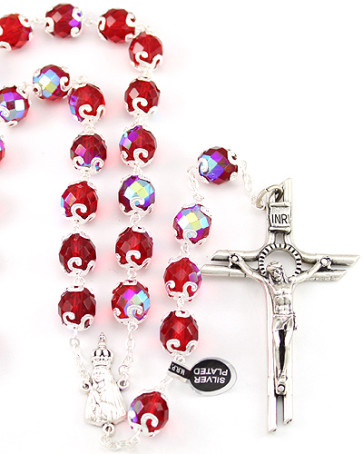 Lady of Fatima Red Capped Beads Rosary