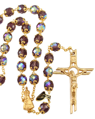 Purple Capped Beads Rosaries, Crowned Lady Fatima