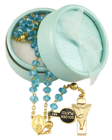 Lady of Fatima Rosary w/ Aqua Crystal Beads