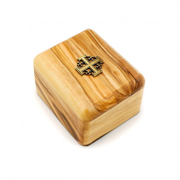 Olive Wood Gift Box with Jerusalem Cross