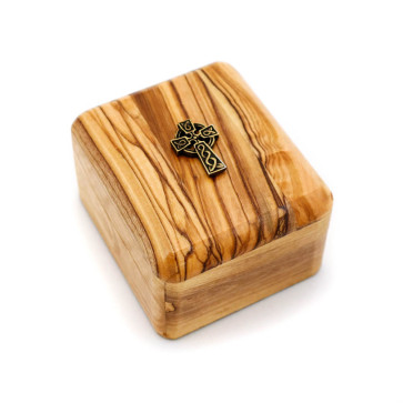 Olive Wood Gift Box with Celtic Cross