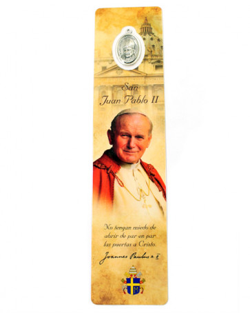 Bookmarker Saint John Paul II with Medal in Spanish
