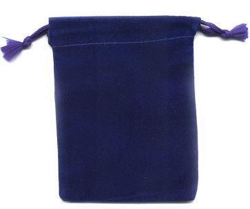 Blue Soft Velour Rosary Pouch