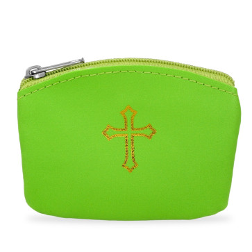Green Rosary Pouch with Gold Cross Design and Zipper