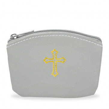 Gray Rosary Pouch with Gold Cross Design and Zipper
