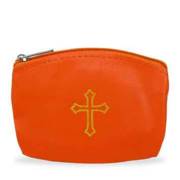 Orange Rosary Pouch with Gold Cross Design and Zipper