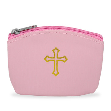 Pink Rosary Pouch with Gold Cross Design and Zipper