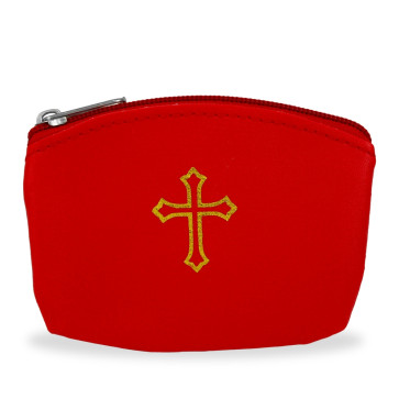 Red Rosary Pouch with Gold Cross Design and Zipper