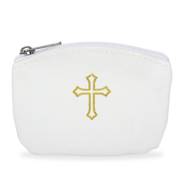 White Rosary Pouch with Gold Cross Design and Zipper