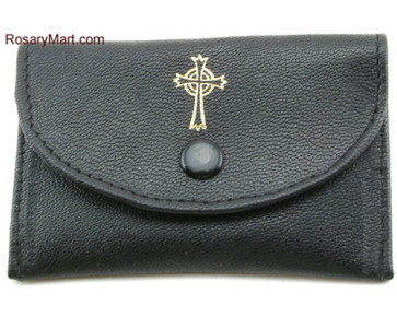 Black Leather Rosary Pouch with Snap