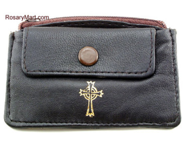 Brown Leather Rosary Pouch with Two Pockets
