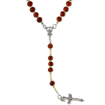 Rosary Necklace with Murano Glass Beads Brown