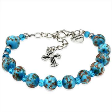 Murano Glass Rosary Bracelet Blue - Genuine Murano Beads