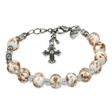 Murano Glass Rosary Bracelet White - Genuine Murano Beads