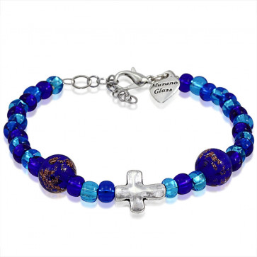 Murano Glass Bracelet, Blue Beads with Cross Charm