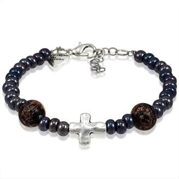 Murano Glass Bracelet, Black Beads with Cross Charm