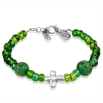 Murano Glass Bracelet, Green Beads with Cross Charm