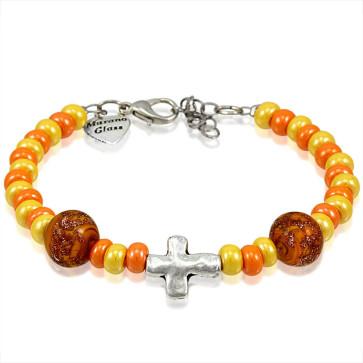 Murano Glass Bracelet, Orange Beads with Cross Charm