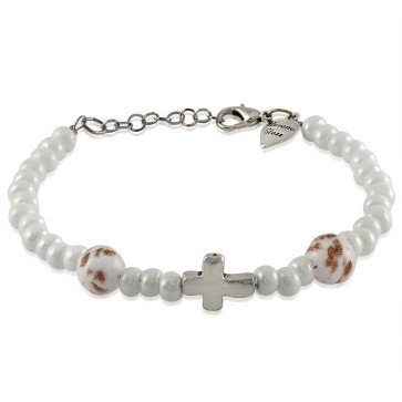 Murano Glass Bracelet, White Beads with Cross Charm