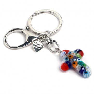 Murano Glass Cross Keychain - multi-color pattern