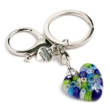 Murano Glass Heart Keychain - multi-color