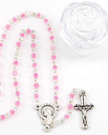 Madonna with Stars Glass Beads Rosary with Box