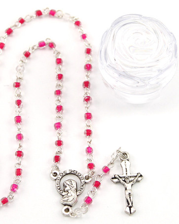 Catholic Red Glass Beads Rosary