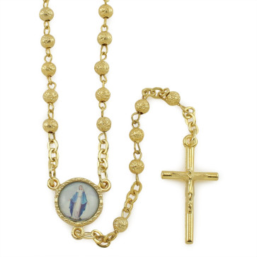 Gold Rosary with Rosebud Beads