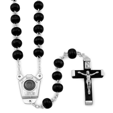 Black Wooden Lourdes Water Rosary