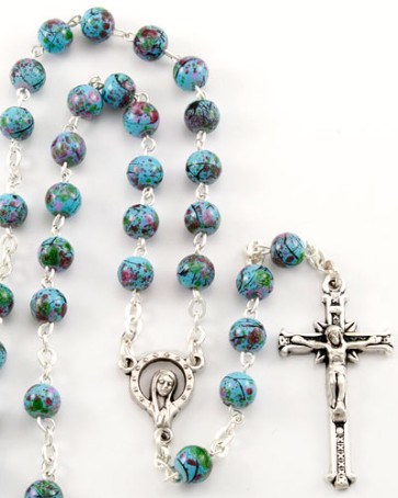 Speckled Beads Catholic Rosary
