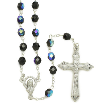 Miraculous Rosary with Black Crystal Beads