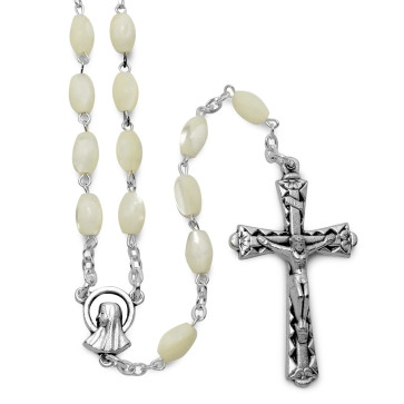 Oval Mother of Pearl Beads Catholic Rosary
